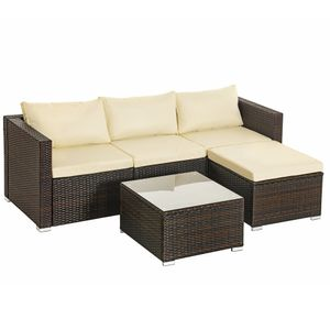 SONGMICS Gartenmöbel-Set, 5-teilig, aus Polyrattan, handgeflochten, Gartensofa, Gartentisch mit Glasplatte, mit Kissen, braun-beige GGF005K01