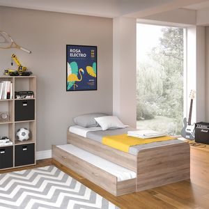 VitaliSpa Kojen Bett Enzo Jugendbett mit Gästeliege Funktionsbett Sonoma Eiche 90x200 cm