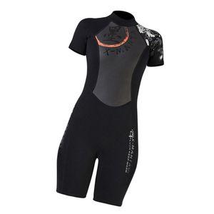 Frauen Kurzarm Neoprenanzug Jacke Tauchen Overall Surfen Tauchen Badebekleidung XL Schwarz