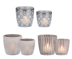 6x Windlicht Glas set 3 Motive, 2 Größen Weiß, dunkles Glas - 7,5 & 9 cm hoch - Teelicht-Gläser
