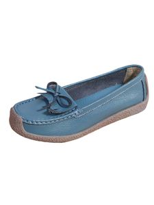Damen Bowknot Quaste Flache Schuhe Mokassins Pumps Freizeitschuhe,Farbe: Blau ,Größe:38