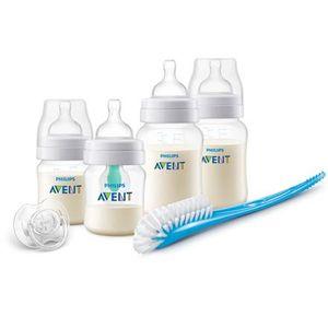 Philips Avent Anti-colic Flaschen-Set, starter set mit AirFree Ventil SCD807/00, 4 Flaschen - 125ml & 260ml, Schnuller & Bürste, transparent
