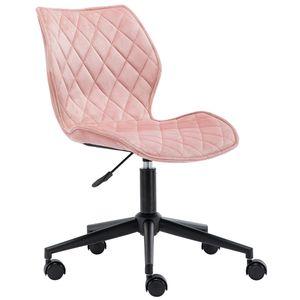 Duhome Rollhocker Bürostuhl aus Stoff Samt hell rosa pink Schreibtischstuhl Drehhocker Drehstuhl