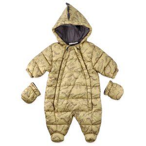 Jungen Baby Winteranzug Schneeanzug Winter Overall Dino gold gelb 68 (3-6 Monate)