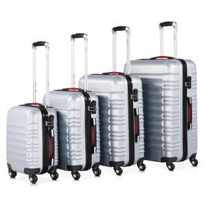 Hartschalenkoffer Kofferset Trolley 4 Rollen Reise Koffer Set S M L XL Hard Case, Farbe:schwarz