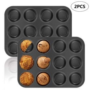2Pcs Mini Muffinform Muffin Pan Muffin Tablett Antihaft für 12 Muffins Cupcakes und kleine Kuchen