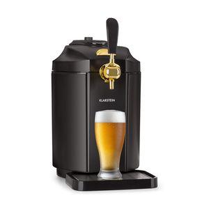 Klarstein Skal - Edelstahl-Bierzapfanlage, Black Edition, LCD-Display Temperaturanzeige, nur 38 dB, Temperatur: 2-12 °C, passend für alle 5-Liter-Bierfässchen, thermoelektrisches Kühlsystem, schwarz