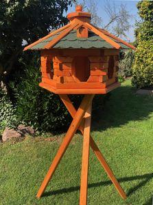 Vogel Futter Haus XL Futterstelle Sechseck aus Holz mit Ständer Braun/Grün