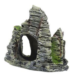 Felsformation mit Höhle/Pflanzen, 11x5.5x9.5 cm Berg