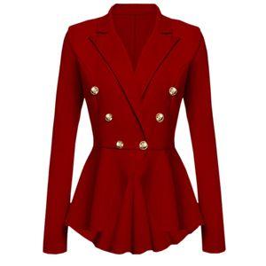 Damen Langarm Blazer Rüschen Schößchen Button Casual Jacke Coat Outwear Größe:M,Farbe:Rot