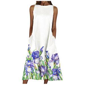 Damen Sommer Rundhalsausschnitt Ärmelloses Scenic Floral Printed Pocket Dress Farbe:Blau,Größe:S