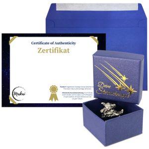 Makai echter Meteorit ca. 15 Gramm Sternschnuppe mit Echtheits-Zertifikat Geschenkkarte Box individueller personalisierbarer Karte mit Widmung (Zertifikat zum selber Beschriften)