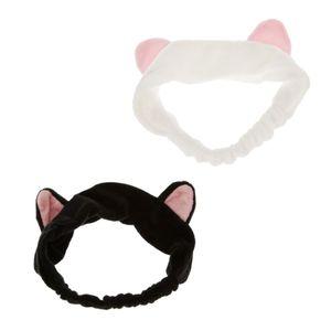 (2 Stück Packung) Katzenohren Haarband Stirnband Haarreifen, ideal beim Gesicht zu waschen, Make up, Kosmetik, Damen Mädchen Geschenkidee