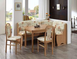 Eckbankgruppe Thurgau Buche sandfarbig Eckank 2x Stuhl Tisch Essgruppe