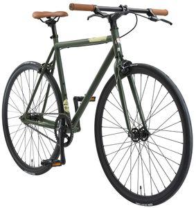 BIKESTAR Singlespeed 700C 28 Zoll City Stadt Fahrrad | 53 cm Rahmen Rennrad Retro Vintage Herren Damen Rad | Grün