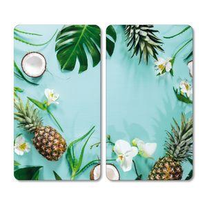 Kesper 2er Pack Glas-Schneideplatte Tropical Summer, 52 x 30 x 0,8 cm, Schneidebrett, gehärtetes ESG-Sicherheitsglas, Frühstücksbrett, Brotzeitplatte, 3654513