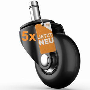 Hartbodenrollen Ø48mm für Ihren Bürostuhl mit 11mm Stift - austauschbare Bürostuhlrollen für jeden Hartboden - vermeidet Kratzer & Macken im Parkett
