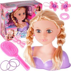 MalPlay Frisierkopf mit Zubehör | Schminkkopf mit Langen Haaren zum Stylen | Styling Kopf | Tolles Geschenk | geeignet für Kinder, Mädchen ab 3 Jahren