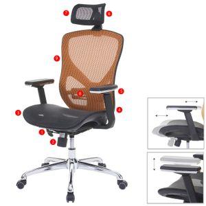 Bürostuhl HWC-A61, Schreibtischstuhl, Sliding-Funktion Stoff/Textil ISO9001  schwarz/orange