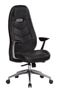 Bürostuhl A062, Chefsessel Drehstuhl, Echtleder, 5-Punkt Synchronmechanik  schwarz