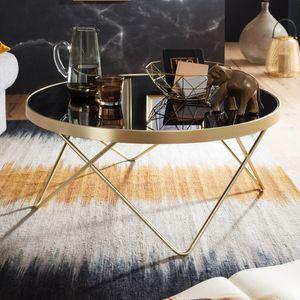 WOHNLING Couchtisch Ø 82 cm Schwarz / matt Gold Beistelltisch Metall/Glas | Tisch mit Glasplatte | Ablagetisch modern | Großer Wohnzimmertisch | Glastisch mit Metallgestell