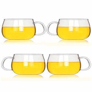 6er/set Teeglas Espressoglas - Teetasse Espressotasse aus Glas, 350ml Teetassen mit Henkel