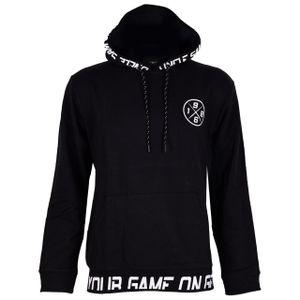UNCLE SAM Herren Kapuzen-Sweatshirt Kapuzenpullover Sweater Hoodie Logo Druck, Größe:L, Farbe:Black