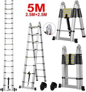 Alu Teleskopleiter Mehrzweckleitern Klappleiter Teleskopleiter Anlegeleiter Ausziehleiter 5M