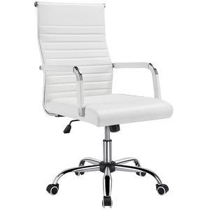 Yaheetech Bürostuhl Schreibtischstuhl Ergonomisch Drehstuhl mit Armlehne Kunstleder Höhenverstellbar Wippfunktion Belastbar bis 130 kg