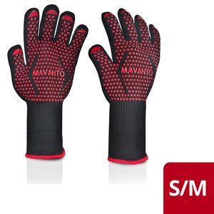 MAVANTO® 2er Set Grillhandschuhe EXTRA LANG hitzebeständig bis 500 Grad - Ofenhandschuhe - Silikonhandschuhe Unterarmschutz (Rot, S/M)