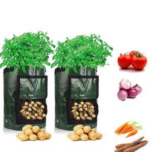 3 Stück Pflanztasche Kartoffel Tomaten Erdnüsse Pflanzsack PE-Stoff Atmungsaktiv Dauerhaft Pflanzbeutel mit Tragegriffen (3 Gallon, Grün)