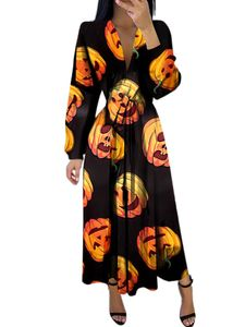 Damenmode Halloween V-Ausschnitt Langarm Maxikleid Club Kostüm,Farbe: Kürbis,Größe:S