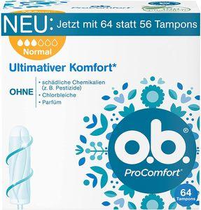 o.b. ProComfort Normal Tampons DynamicFit Technologie SilkTouch Komfort 64 Stück