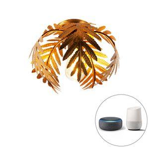 QAZQA - Retro Vintage Smart Deckenleuchte | Deckenlampe | Lampe | Leuchte Gold | Messing 24 cm inkl. WiFi ST64 - Botanica Dimmer | Dimmbar | Wohnzimmer | Schlafzimmer | Küche - Stahl Rund | Organisch - LED geeignet E27