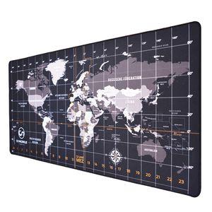 Schreibtischunterlage - Schreibunterlage für Schreibtisch - XXL Unterlage groß und abwischbar mit Kantenschutz - 90x40cm Weltkarte schwarz