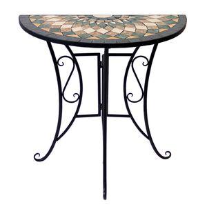 Wohaga Mosaik Gartentisch halbrund 70x35cm Gestell Eisen / Platte Keramik