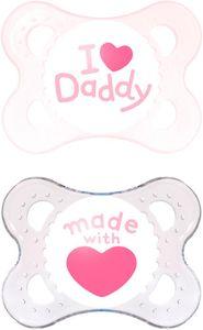 MAM Original Silikon Schnuller Nuckel 0-6 Monate - I love Daddy Mädchen
