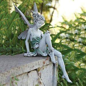 Blumenfee Statue Engelsflügel Gartendekoration Fairy Garten Ornamente  Tudor und Turek Sitzen Fee  Elfen Figuren Harz Landschaft Braun