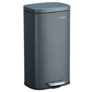 SONGMICS Mülleimer 30L Treteimer aus Stahl Abfalleimer Recycling Abfallbehälter Küche Papierkorb 63cm Rauchgrau LTB03GS