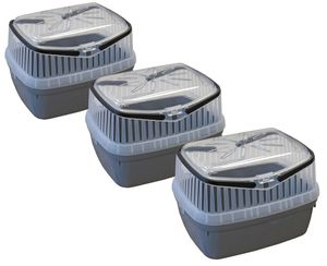 3er Sparpack Transportbox für Kleintiere wie Hamster, Meerschweinchen, Kaninchen usw. 3 x Grau