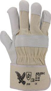 12 Pa. Canvas Handschuhe Rindnarbenleder, natur, gefüttert, gummi Gr. 10,5