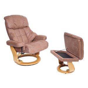 MCA Relaxsessel Calgary XXL, TV-Sessel Hocker, 180kg belastbar Stoff/Textil  braun, Gestell naturbraun