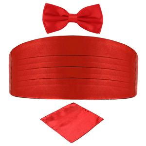 DonDon 3er Set Herren Kummerbund Fliege Einstecktuch farblich abgestimmt glänzend - Rot