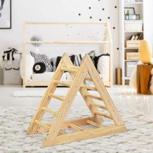 COSTWAY Kletterdreieck aus Holz, Klettergeruest fuer Kleinkinder ab 3 Jahren, zur Entwicklung grobmotorischer Faehigkeiten, Natur
