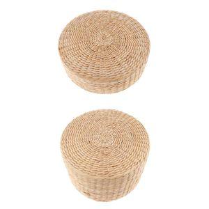 2x Bodenkissen Tatami Boden Kissen Sitz Kissen Rundes Stroh Kissen für Haus