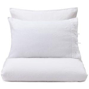 """URBANARA Kissenbezug """"Figuera"""" – 80cm x 40cm, Weiß, 100% Leinen – nur Kopfkissenbezug"""