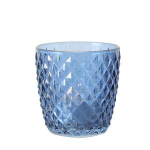 Teelichthalter 4er Set Teelichtgläser Deko Windlicht Marilu Blau 4x Glas