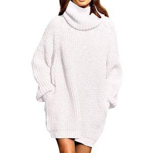 Damen Langarm Oversize Grobstrick Pulloverkleid mit Rollkragen  XL