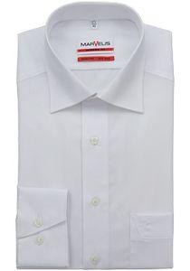 Marvelis Modern Fit Hemd Langarm Uni Popeline Weiß 4700/64/00, Größe: 42