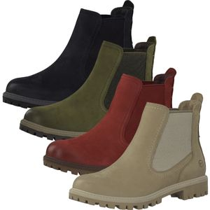 Tamaris Damen Chelsea Boots Stiefeletten Leder 1-25401-27, Größe:40 EU, Farbe:Grün